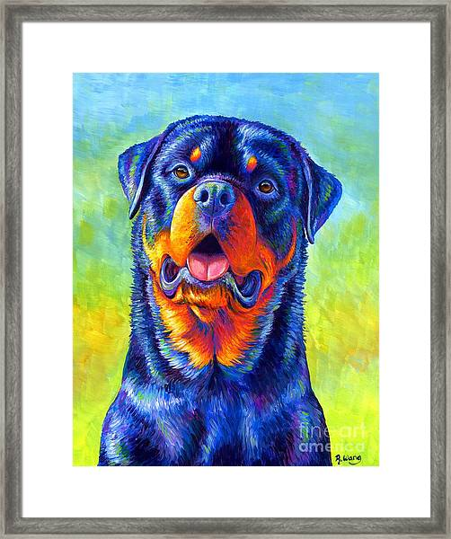 Gentle Guardian Colorful Rottweiler Dog Framed Print