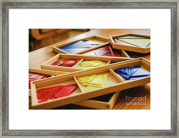 Geometric Material In Montessori Classroom For The Learning Of Children In Mathematics Area. Framed Print