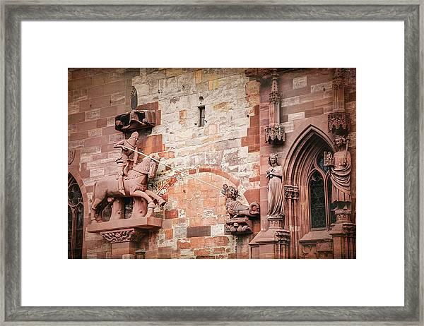 George Slaying The Dragon Basel Minster Switzerland Framed Print