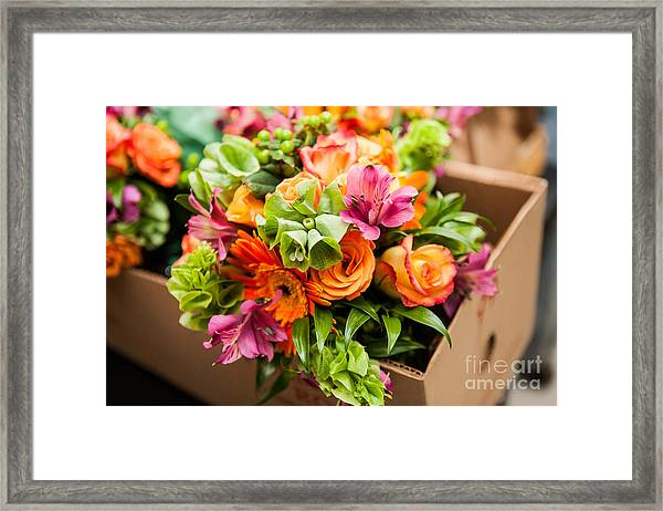 Gerbera, Tulips And Mix Of Summer Framed Print