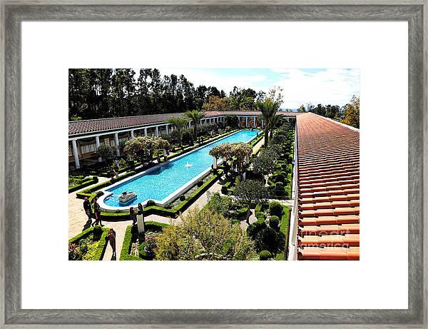 Getty Pano Courtyard Museum Villa Malibu Santa Monica  Framed Print