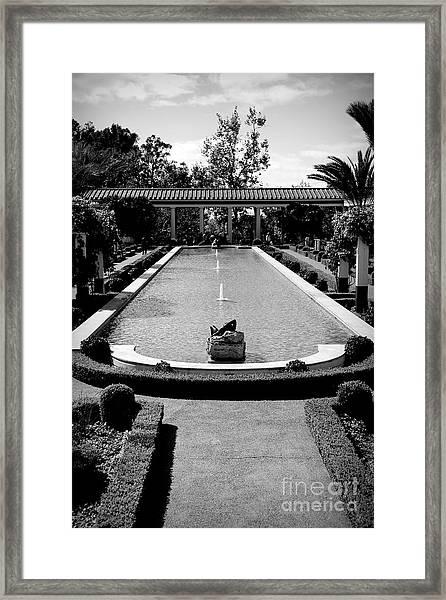 Getty Villa Massive Pool Black White Landscape  Framed Print