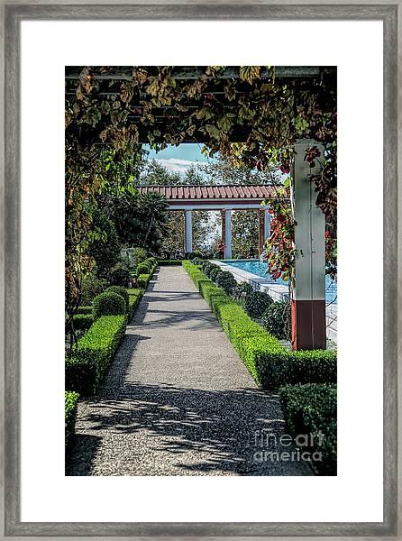 Getty Villa Pathway California  Framed Print