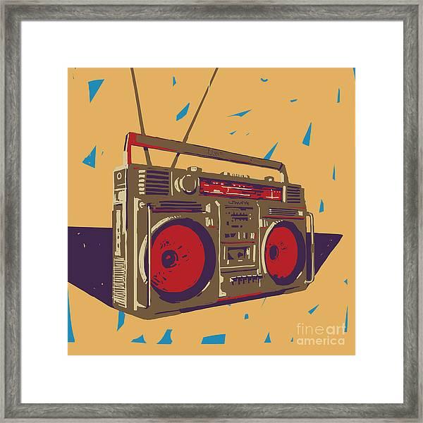 Ghetto Blaster Boombox Graphic Framed Print by Iz Stock Works