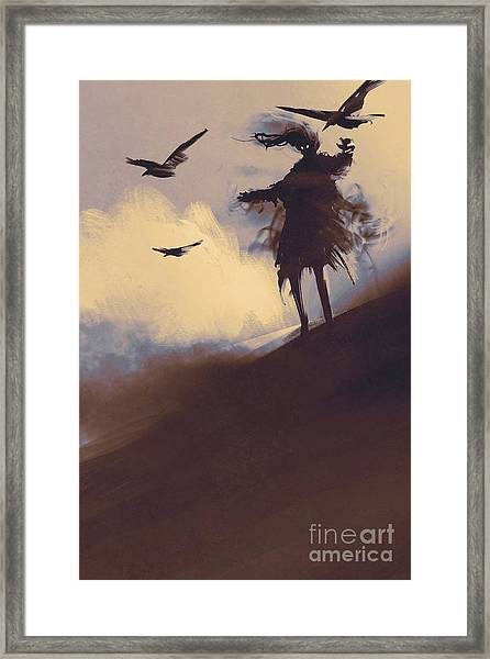 Ghost With Flying Crows In The Framed Print