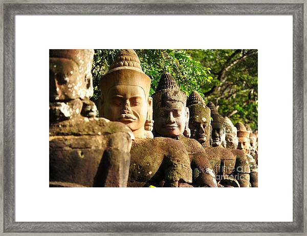 Giants In Front Gate Of Angkor Thom Framed Print