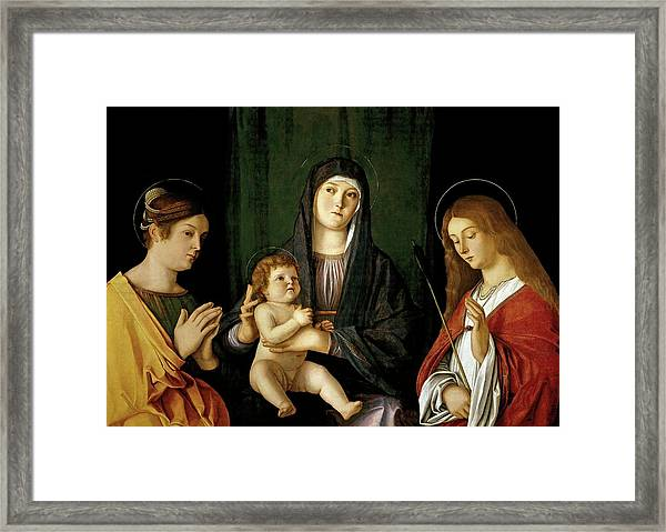 Giovanni Bellini -and Workshop- 'the Virgin And Child Between Two Saints', Ca. 1490, Italian School. Framed Print