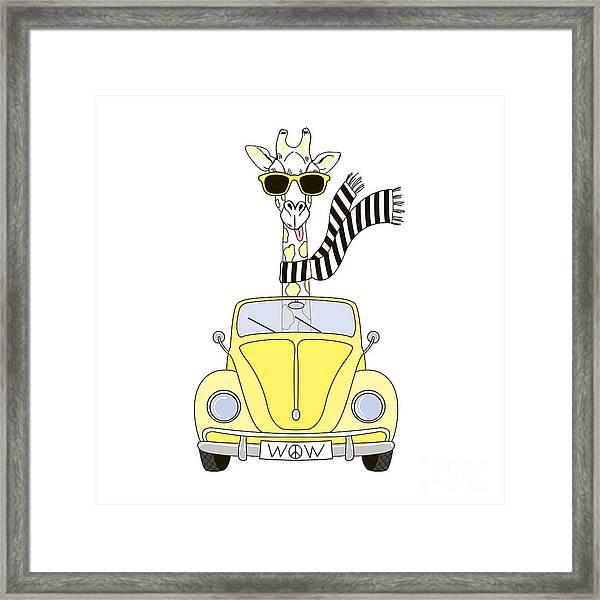 Giraffe In Sunglasses And Striped Scarf Framed Print