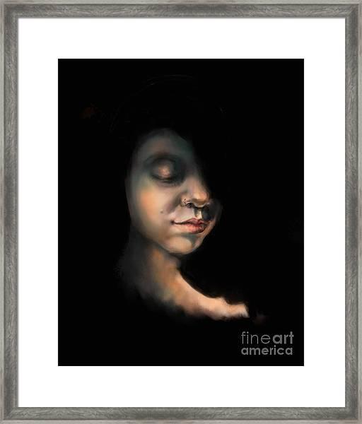Girl In Golden Twilight Framed Print