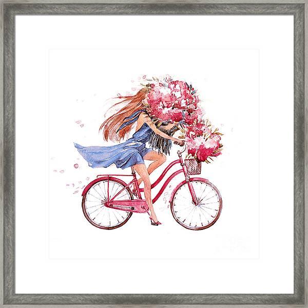 Girl On Bike.  Bicycle. Bike. Peony Framed Print