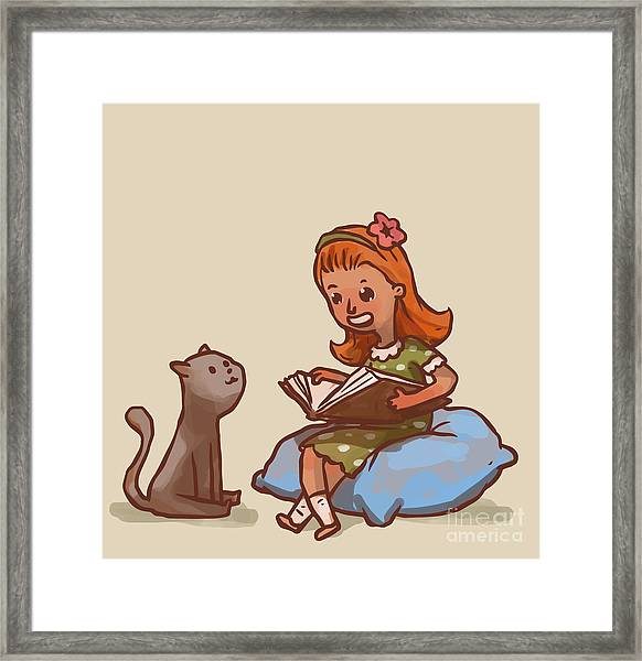 Girl Reads Book To Cat, Vector Framed Print