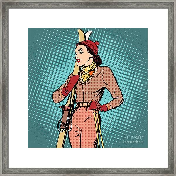 Girl Retro Skier Pop Art Retro Style Framed Print