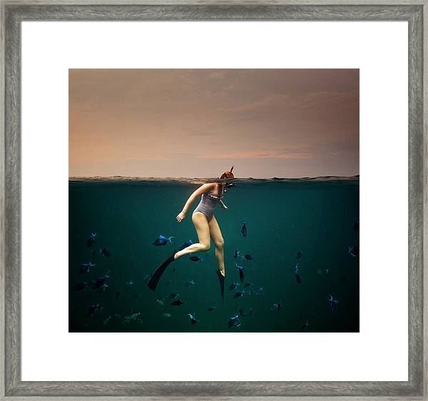Girl Snorkelling Framed Print by Rjw