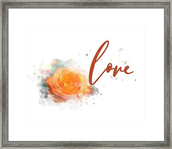 Girly Wall Art, Burnt Orange Rose Love Watercolor Framed Print