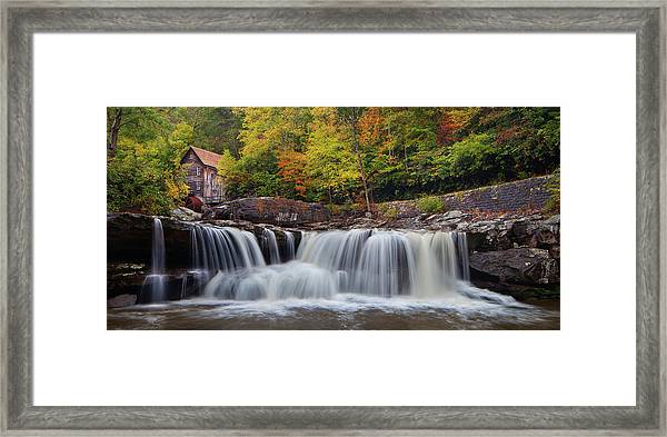 Glade Creek Grist Mill And Cascade Framed Print
