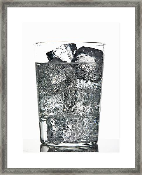 Glass Of Ice Cubes In Fizzy Drink Framed Print by Walter Zerla