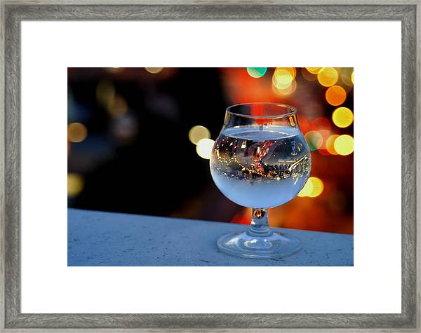 Glass Of Water Overlooking Vienna Framed Print