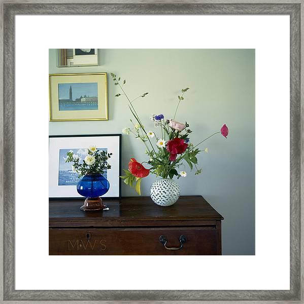 Glass Vases Of Rose Rosa And Framed Print