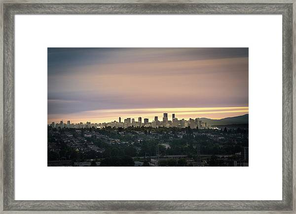 Framed Print featuring the photograph Gloden Sky On Vancouver by Juan Contreras