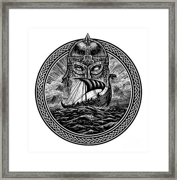 God Odin Storm Sea And Drakkar Framed Print