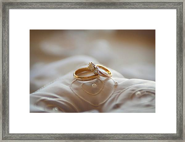 Gold Wedding Rings On A Pillow Framed Print by Driendl Group