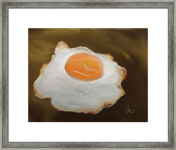 Framed Print featuring the pastel Golden Fried Egg by Fe Jones