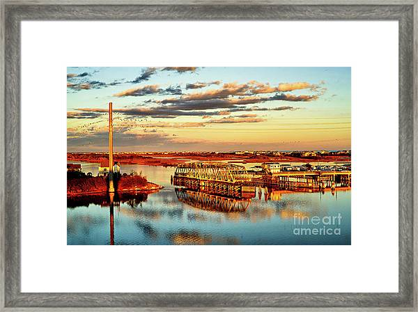 Framed Print featuring the photograph Golden Hour Bridge by DJA Images