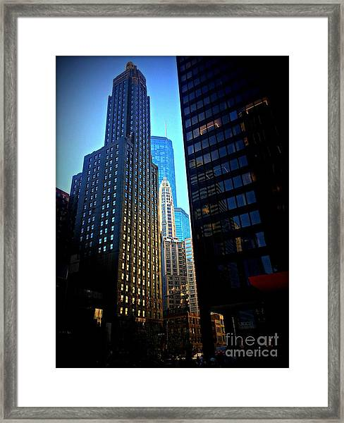 Golden Hour Reflections - City Of Chicago Framed Print