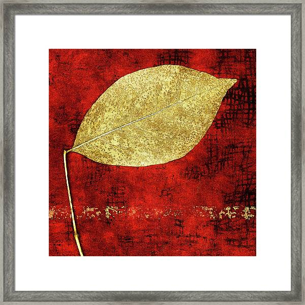 Golden Leaf On Bright Red Paper Square Framed Print