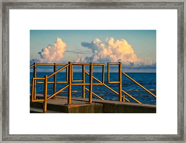Golden Railings Framed Print