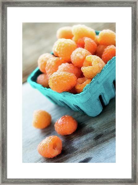 Golden Raspberries Framed Print