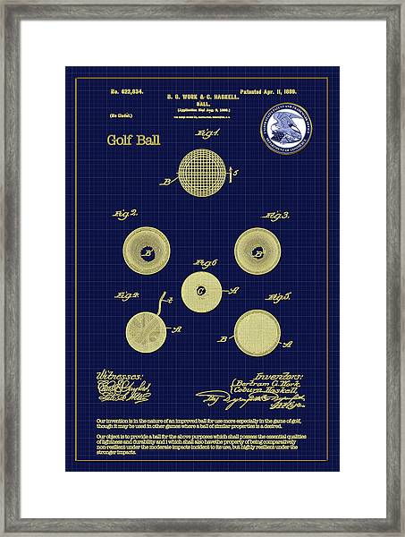 Golf Ball Patent Drawing 1899 Framed Print