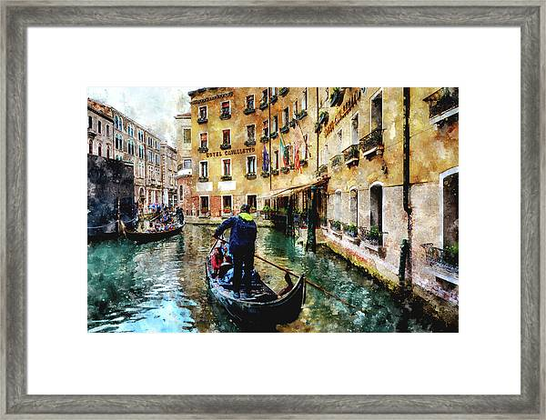 Gondola Traffic Near Piazza San Marco In Venice, Italy - Watercolor Effect Framed Print