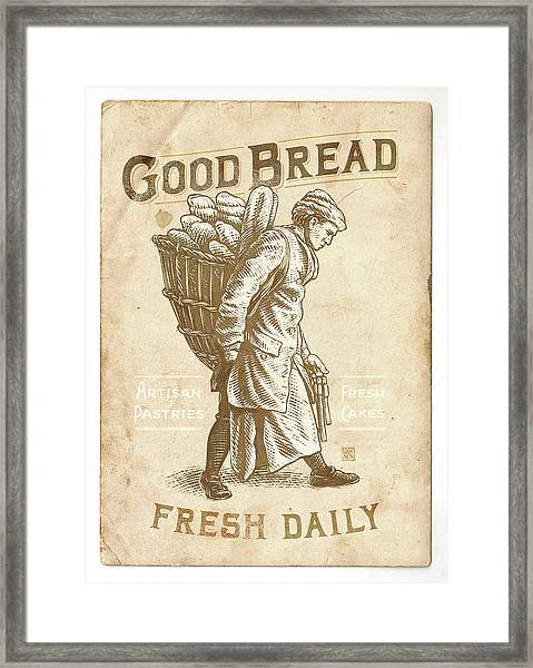Framed Print featuring the drawing Good Bread by Clint Hansen