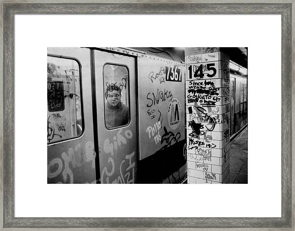 Graffiti Covers Platform And Subway At Framed Print by New York Daily News Archive