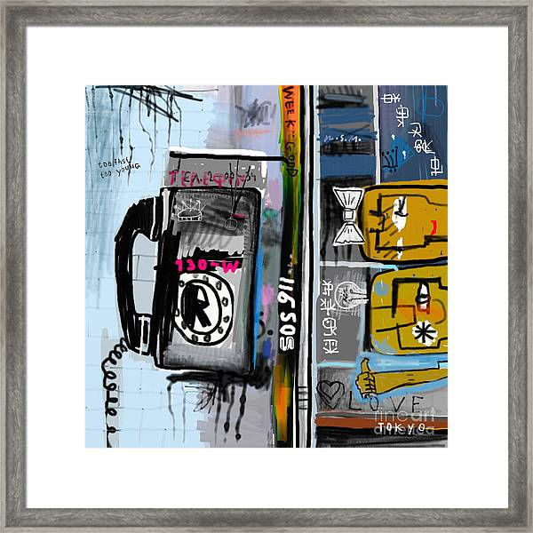Graffiti With Telephone Framed Print
