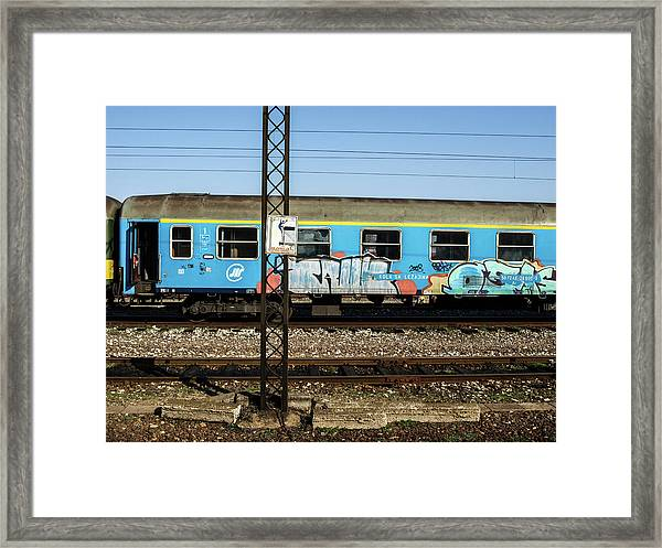 Graffitied Train Framed Print