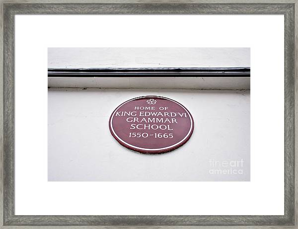 Grammar School Sign Framed Print