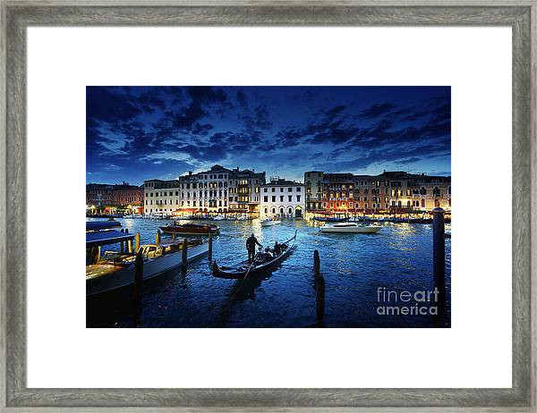 Grand Canal In Sunset Time, Venice Framed Print