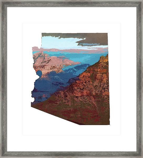 Grand Canyon In The Shape Of Arizona Framed Print