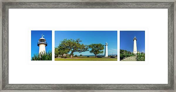 Grand Old Lighthouse Biloxi Ms Collage A1e Framed Print