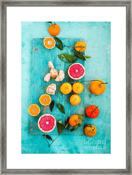Grapefruit, Mandarin, Clementine Sliced Framed Print