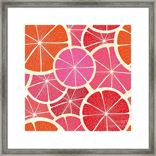 Grapefruit Seamless Background Framed Print