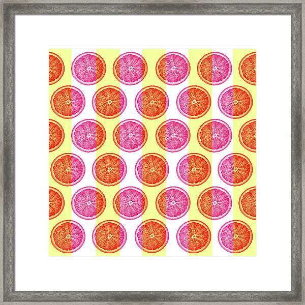 Grapefruit Slice Pattern 1 - Tropical Pattern - Tropical Print - Lemon - Orange - Fruit - Tangerine Framed Print