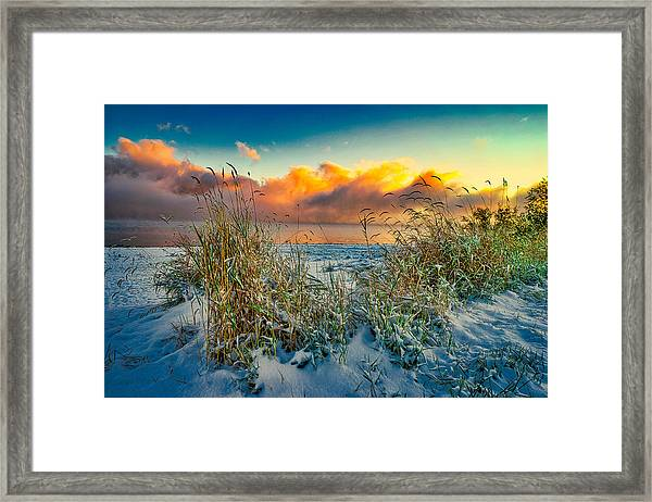 Grass And Snow Sunrise Framed Print