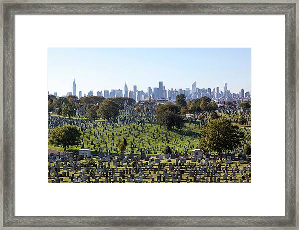 Graveyard Landscape With Cityscape In Framed Print