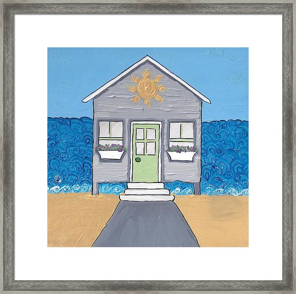 Gray Cottage On The Beach Framed Print