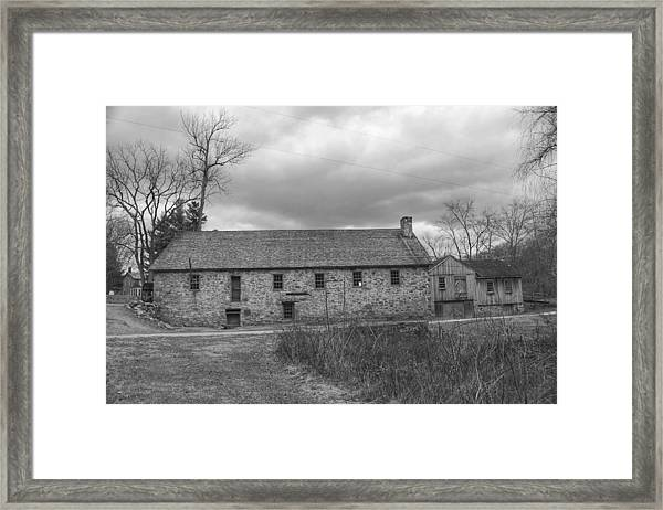 Grey Skies Over Fieldstone - Waterloo Village Framed Print
