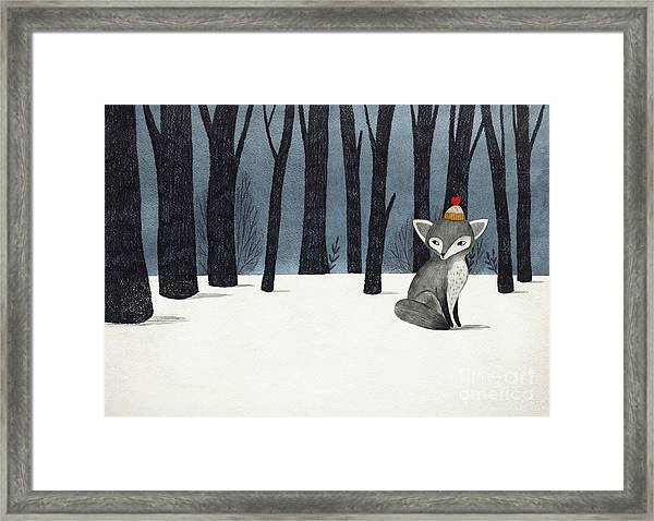 Gray Wolf Fox In A Winter Forest - Framed Print