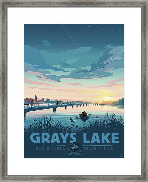 Framed Print featuring the drawing Grays Lake by Clint Hansen